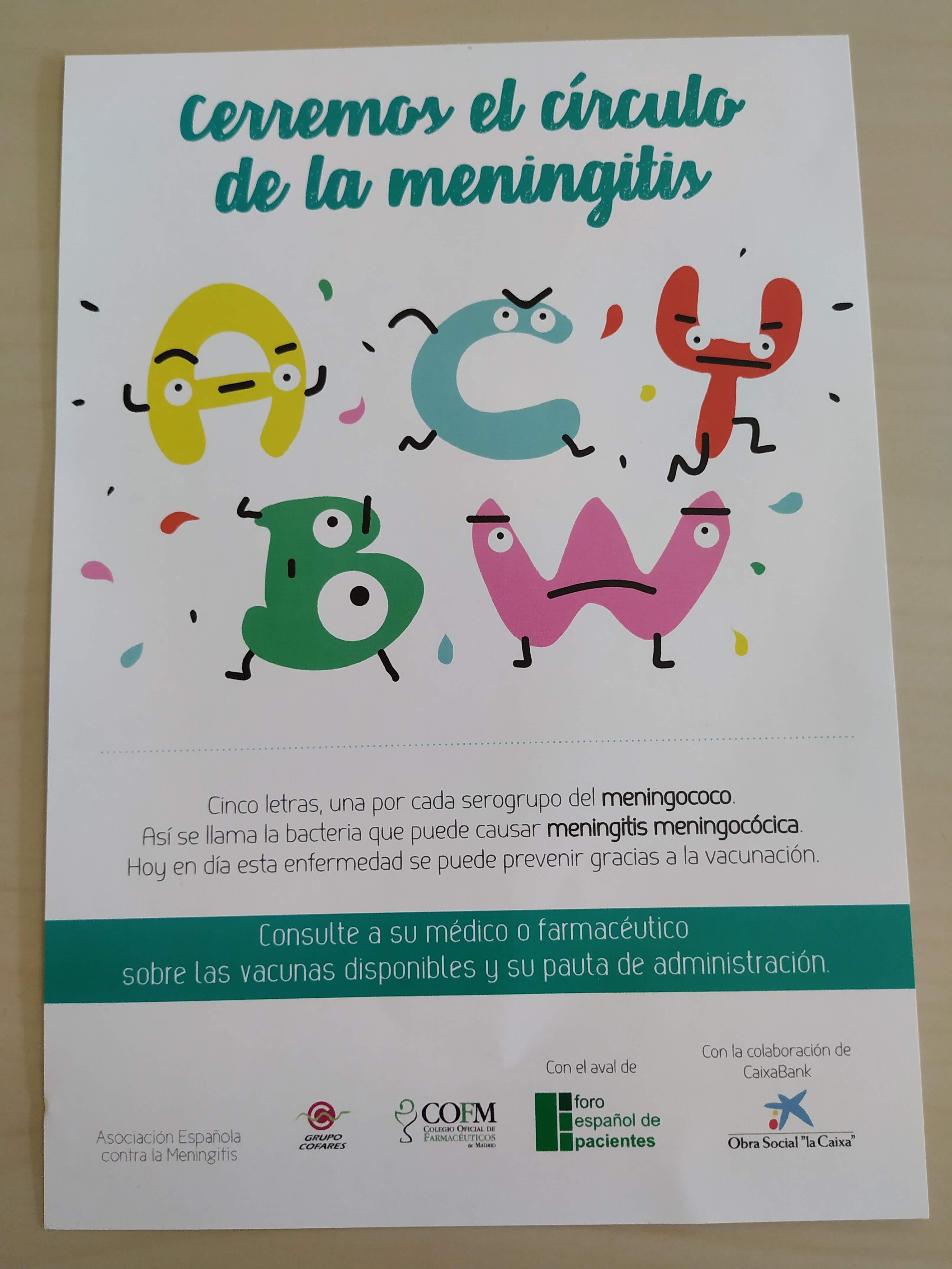 campaña meningitis - Más de 100.000 folletos sobre la meningitis llegarán a las farmacias madrileñas