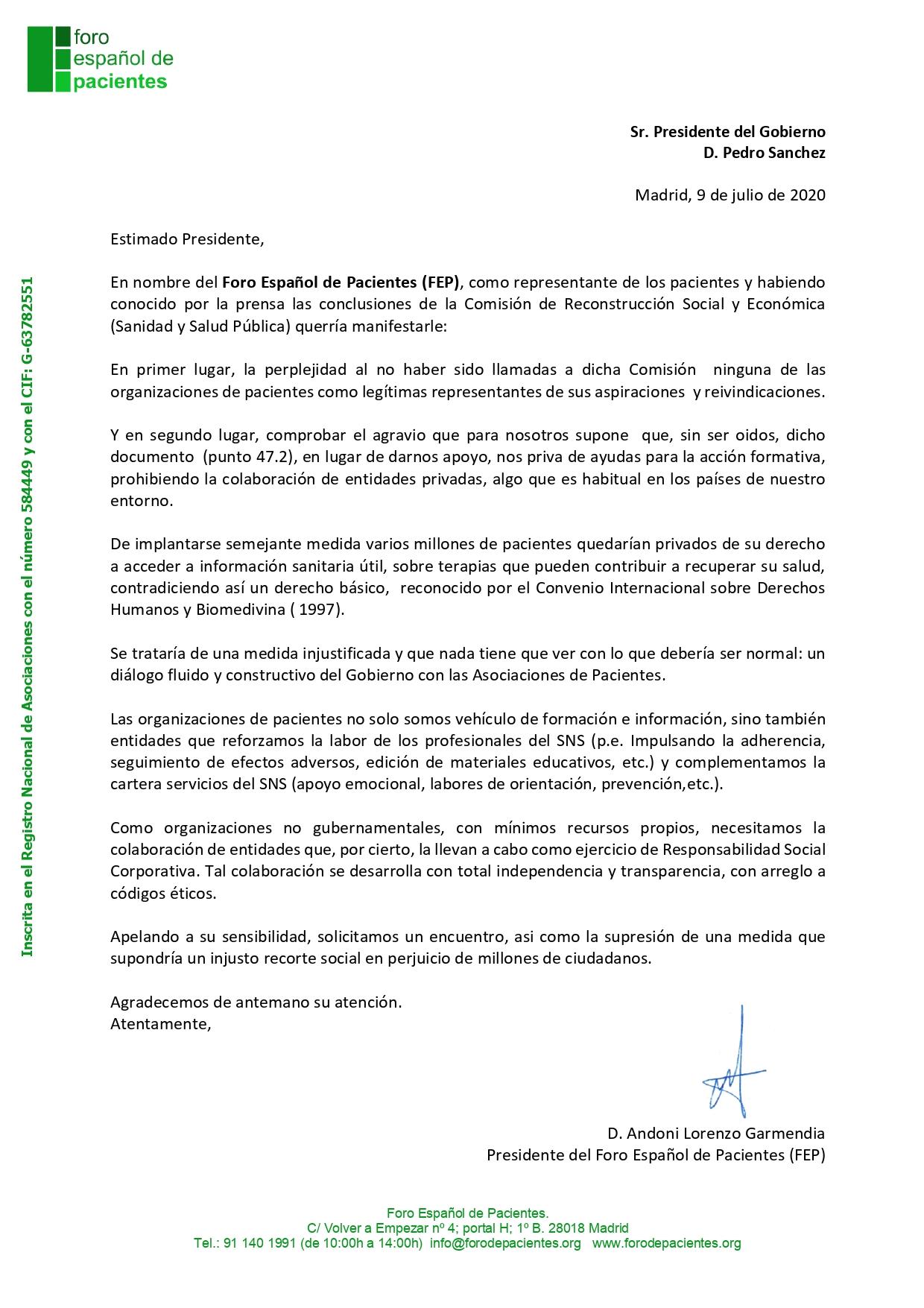 FEP Anteproyecto Ley financiación AAPP Presidente page 0001 - Las Organizaciones de Pacientes en el punto de mira