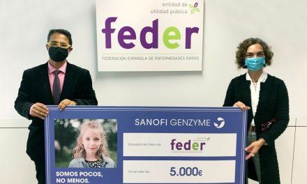 Sanofi Genzyme dona 5.000 euros a FEDER para seguir sensibilizando sobre Enfermedades Raras