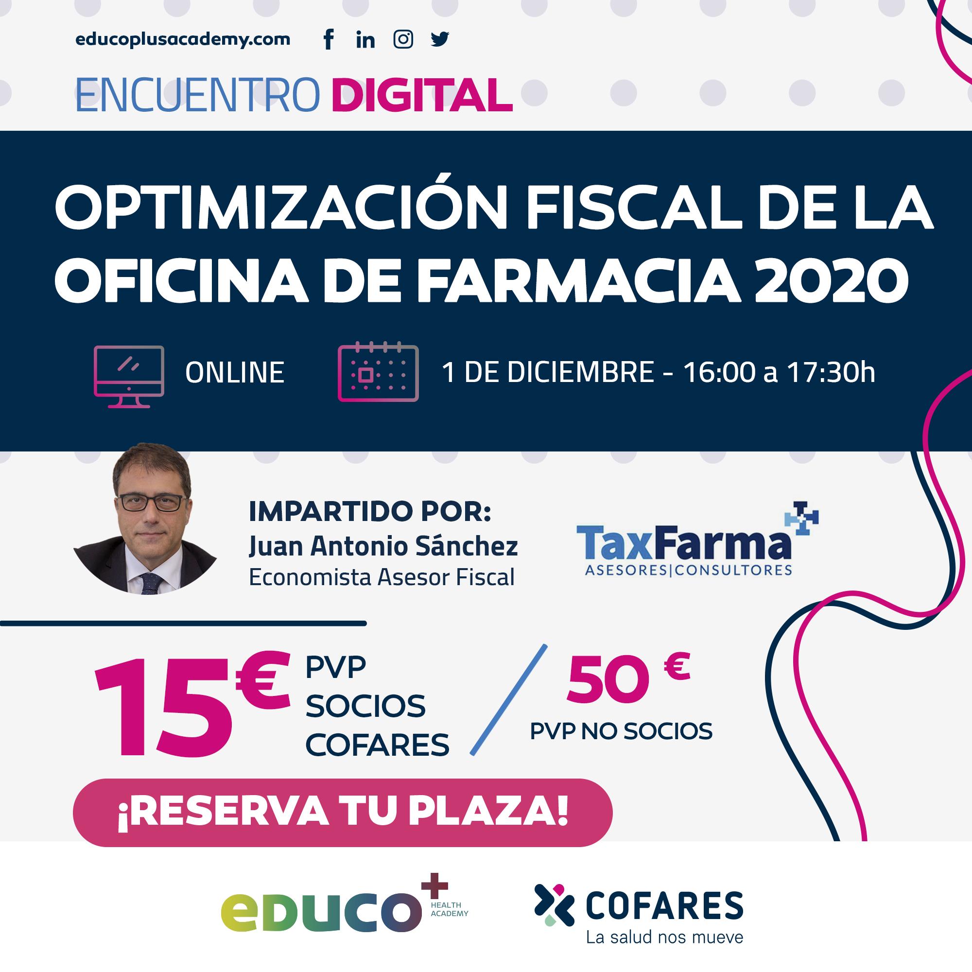 Optimizacion Fiscal 1 Diciembre Insta Whatsp - Nuevos cursos para farmacéuticos de eDuco+ en diciembre