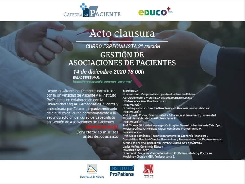 convocatoria curso - Concluye con éxito la segunda edición del Curso de Especialista en Gestión de Asociaciones de Pacientes organizado por el Instituto ProPatiens