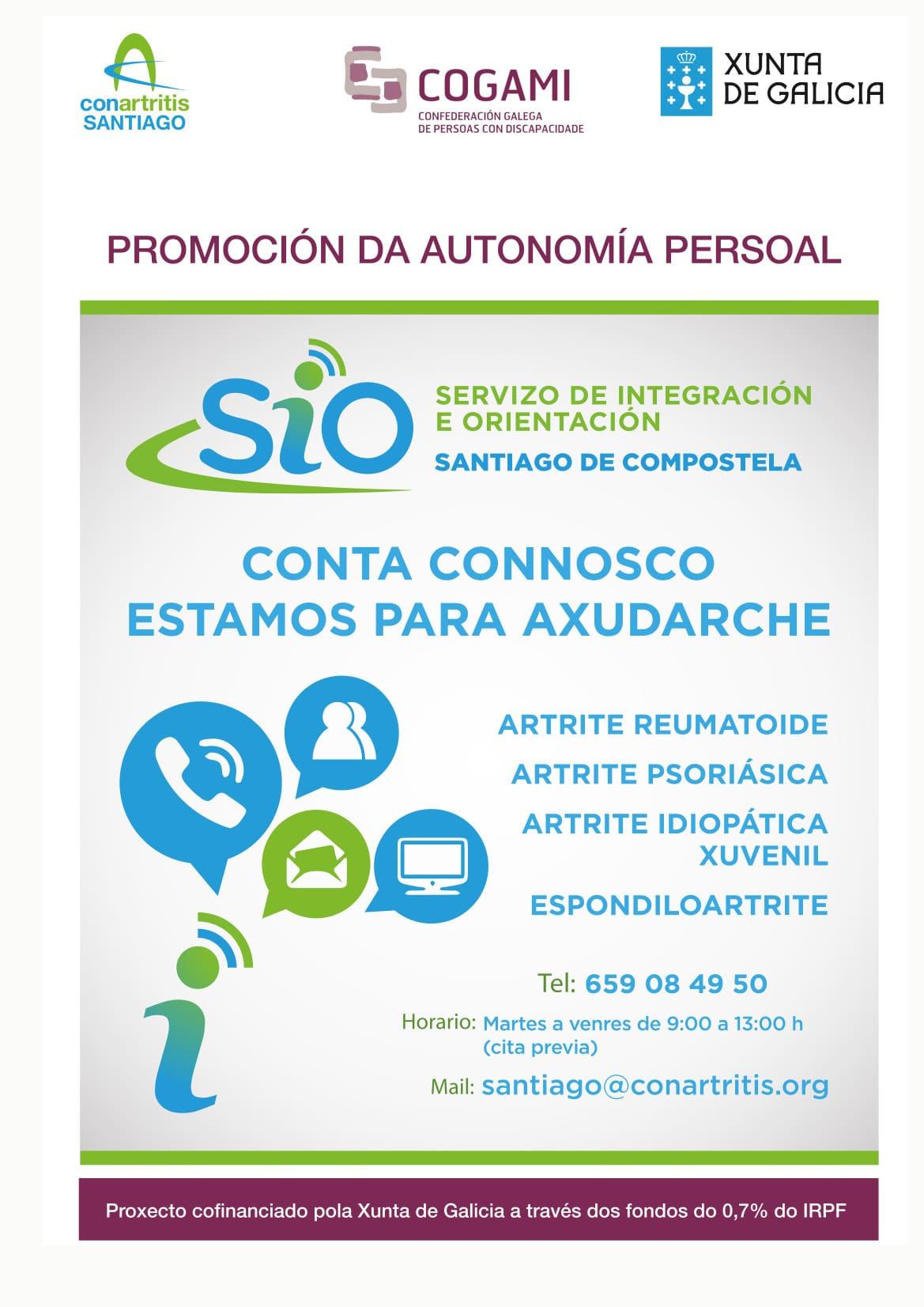 Cartel SIO ConArtritisSantiago - Los pacientes con artritis tienen el SIO de ConArtritis Santiago para informarse